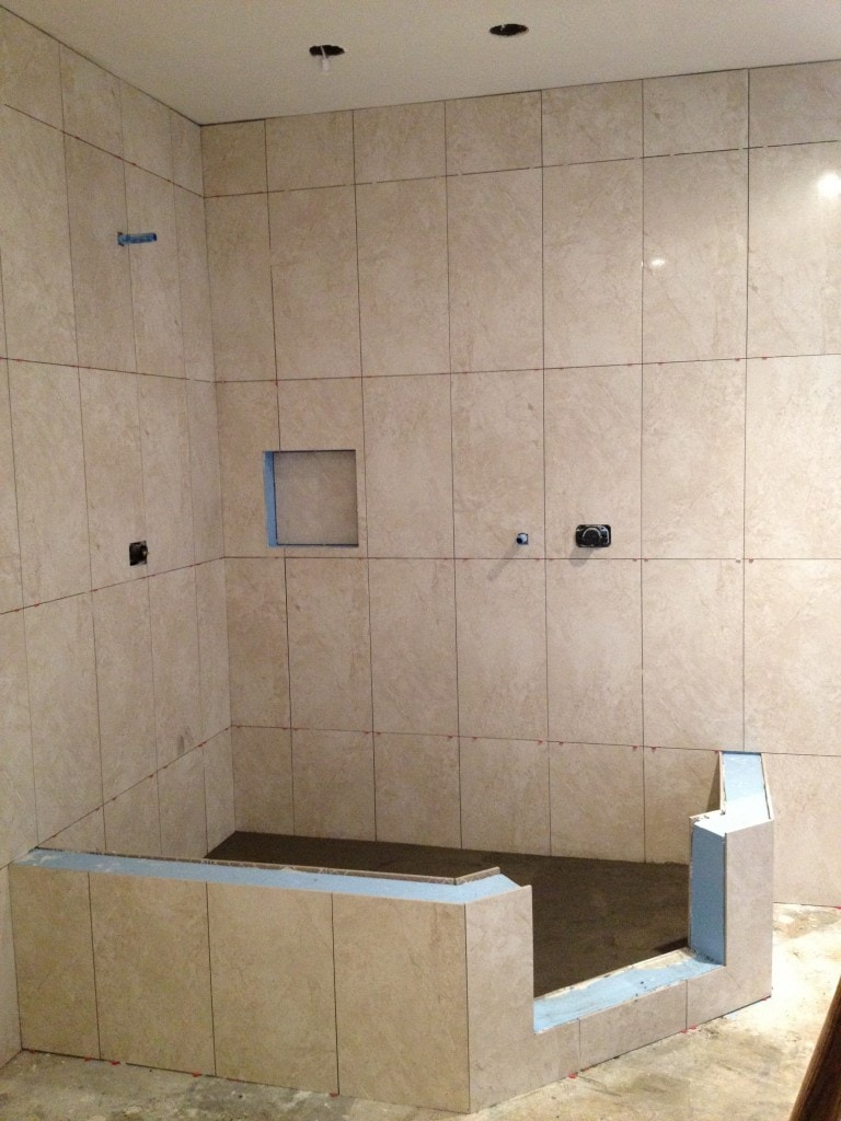 Recent tile jobs englewood tile store mann tile inc for How to install ceramic tile in bathroom wall